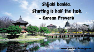korean proverb starting is half the task